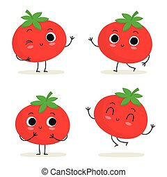 Tomato. Cute vegetable character set isolated on white