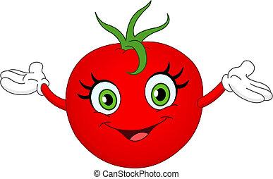 Tomato - Cheerful cartoon tomato raising her hands