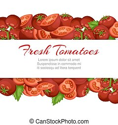 Tomato fresh farm vegetables cartoon vector illustration with isolated tomatoe, sliced piece vegetables on branch.