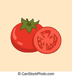 Tomato Fruit and Slice Vector illustration Flat Design