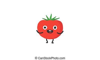 Tomato funny character dances and smiles. Loop animation....
