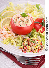 tomato garnish with shrimp