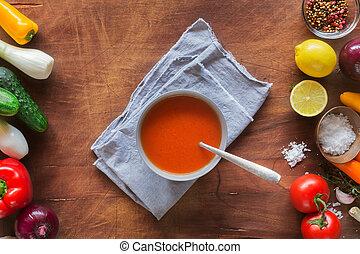 Tomato gazpacho soup with fresh cucumbers