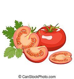Tomato. Healthy lifestile - Tomato whole and cut into slices...