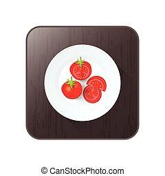 tomato icon vector on button