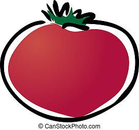 Tomato illustration - vegetable lineart sketch clipart ...