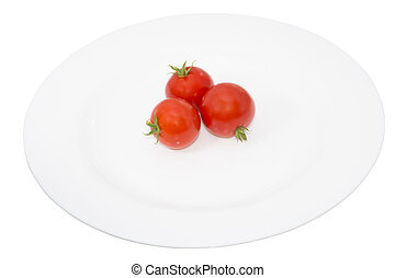 tomato in a plate, isolated