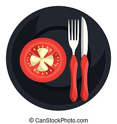 tomato in dish with fork and knife