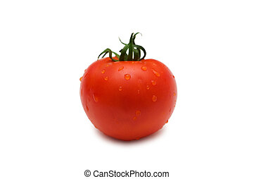 Tomato isolated on white - shallow depth of field