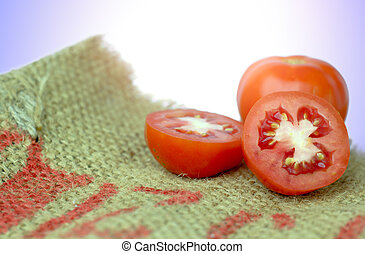 Tomato isolated on white. With clipping path,Tomato paste sack on a white background.