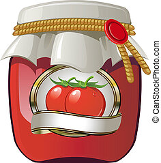 Tomato jar over white. EPS 8, AI, JPEG