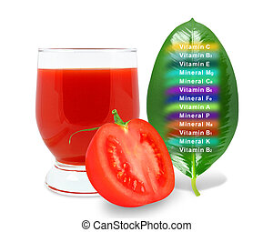tomato juice and vitamins on a white background