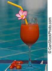 Tomato juice at the swimming pool