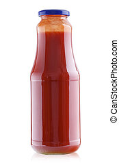 tomato juice in a glass bottle
