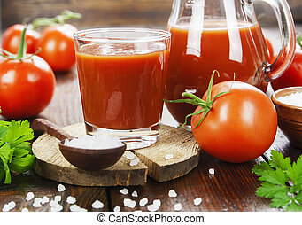 Tomato juice in a glass jug