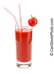 Tomato juice in a glass with drinking straw