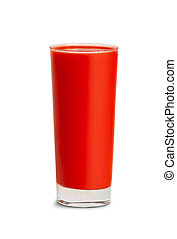 tomato juice in glass isolated