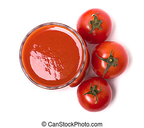 Tomato juice in the glass, cherry tomatoes