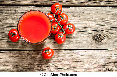 Tomato juice in the glass.