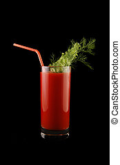 tomato juice isolated on black