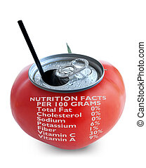 Tomato juice nutrition label - Fresh tomato juice can over a...