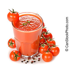 tomato juice on a white background
