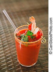 Tomato juice - tomato juice with shrimp and cherry tomato