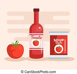 tomato ketchup and soup with vegetable