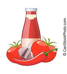 Tomato ketchup bottle isolated on white background vector illustration