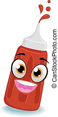 Tomato Ketchup Bottle Mascot - Vector Illustration of Tomato...