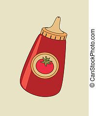 tomato ketchup design over beige dotted background vector illustration