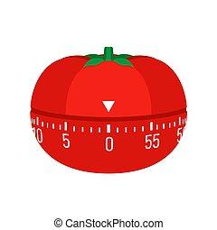 Tomato kitchen timer icon, flat style
