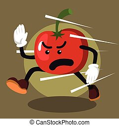 tomato man running illustration