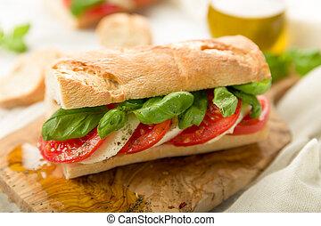 Tomato mozzarella baguette - Fresh tomato mozzarella ...