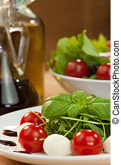 Tomato Mozzarella Rocket Salad With Olive Oil and Balsmaic Vinega
