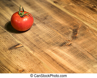 Tomato on a Traditional Rustic Table