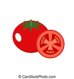 Tomato on a white background. Vector illustration