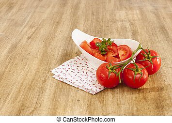 tomato on wooden table
