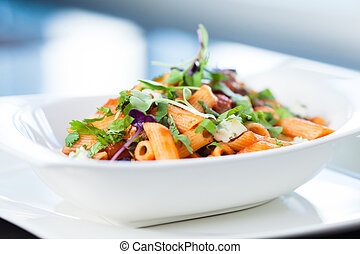 Tomato pasta with beef, mushrooms and blue cheese Bleu d'...