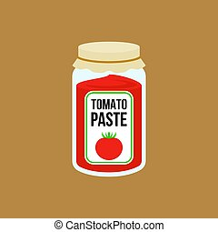 Tomato paste bottle in flat style