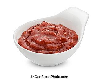 Tomato paste isolated on white background