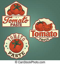Tomato paste labels set