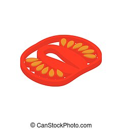 tomato piece isolated. Slice red vegetables on white background