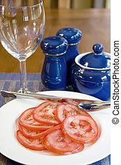 Tomato salad on a plate