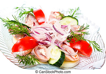 Tomato Salad With Cucumber, Onion And Herring
