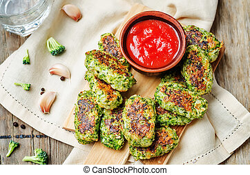 tomato salsa with baked broccoli oat cheese sticks