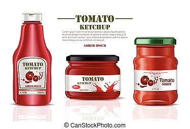 Tomato sauce and ketchup product mock up. Realistic Vector label packaging. Splash backgrounds