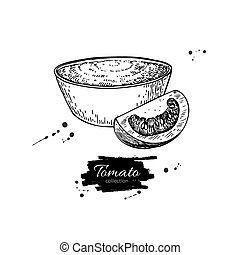 Tomato sauce Drawing. Vector isolated illustration with bowl full of pasta and tomato slice.
