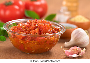 Tomato Sauce - Glass bowl of fresh homemade tomato sauce for...