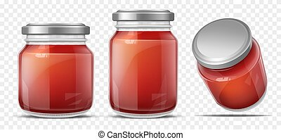 Tomato sauce in glass jar realistic vector